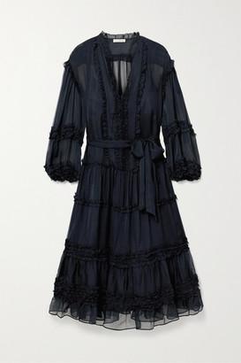 Ulla Johnson Althea Belted Ruffled Silk-chiffon Midi Dress - Midnight blue