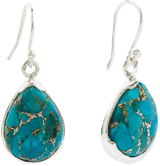 Made In India Sterling Silver Blue Copper Turquoise Earrings