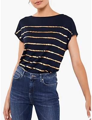 Mint Velvet Stripe Foil Print T-Shirt, Dark Blue