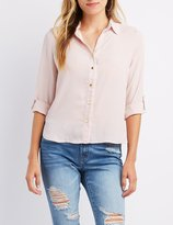 Charlotte Russe Zipper Back Button Down High-Low Shirt