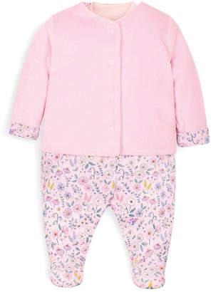Jo-Jo Jojo Maman Bebe 2Pc Velour Jacket & Sleepsuit Set