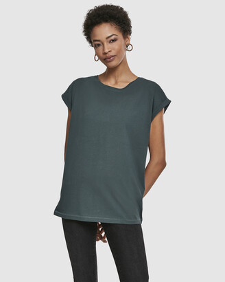 Urban Classics Women's Green Basic T-Shirts - UC Ladies Extended Shoulder Tee - Size One Size, M at The Iconic