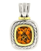 David Yurman Albion Enhancer Citrine Silver 14kt Gold Extra Large Pendant