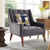 Modway Peruse Velvet Armchair in Grey