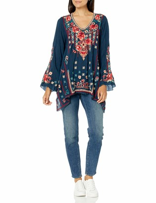Johnny Was Women's Long Sleeve Drapey Rayon Embroidered Blouse