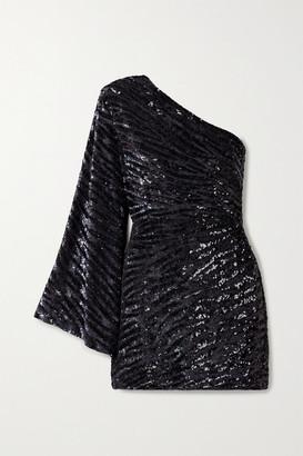 retrofete Gloria One-sleeve Sequined Satin Mini Dress - Black