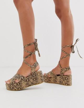 RAID Alma snake ankle tie flatform sandals