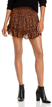 Aqua Leopard Print Smocked Mini Skirt - 100% Exclusive