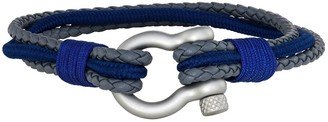 Men's Stainless Steel Grey Leather Navy Nylon Corded Bracelet