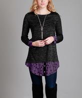 Aster Black & Purple Dot Layered Tunic - Plus Too