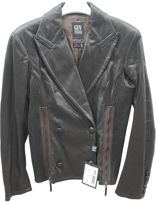 Gianfranco Ferre Brown Leather Leather Jacket for Women Vintage