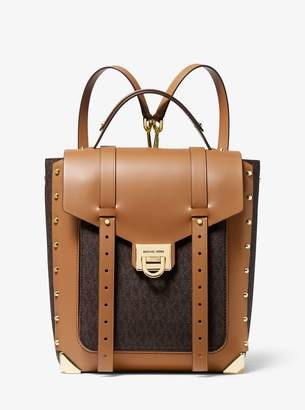 MICHAEL Michael Kors Manhattan Medium Logo and Leather Backpack