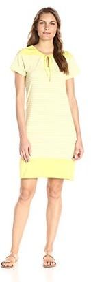 Caribbean Joe Women's Yard Dye Cotton Rayon Jersey Short Sleeve Color Block Striped Dress