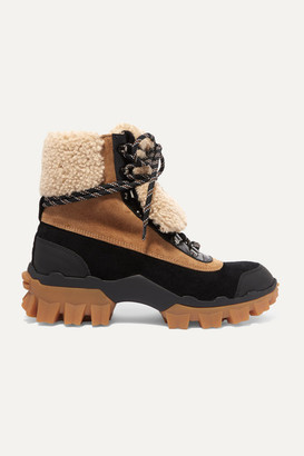 Moncler Harriet Suede, Shearling And Leather Ankle Boots - Tan