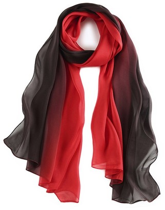 Wztp Silk Scarf for Women 100% Scarves Lightweight Ladies Gradient Color Simple Stylish 180*70cm Red Black