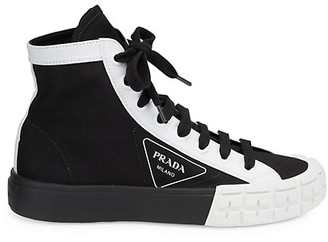 Prada Colorblock Canvas High-Top Sneakers