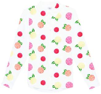 Rails Kate Silk Citrus Print Shirt - S - White/Pink/Red