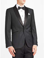 John Lewis Wool Jacquard Shawl Lapel Tailored Fit Dress Jacket, Charcoal