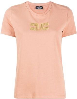 Elisabetta Franchi short sleeve embellished logo T-shirt