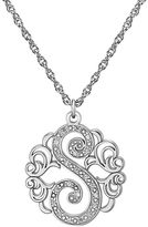 JCPenney FINE JEWELRY Personalized Diamond-Accent Sterling Silver Single Initial Pendant Necklace