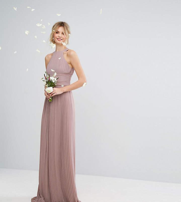 Tfnc Tall Wedding High Neck Pleated Maxi Dress