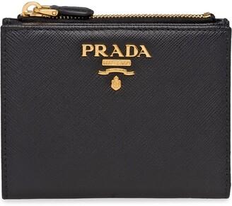 Prada Logo-Plaque Compact Wallet