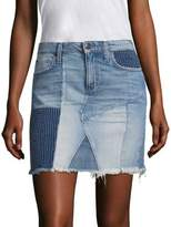 Joe's Jeans Charlie Patchwork Frayed Hem Denim Skirt