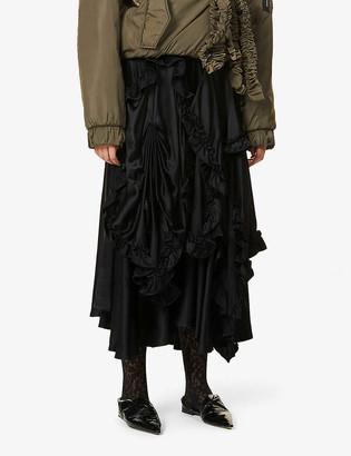 Act N1 Gathered satin midi skirt