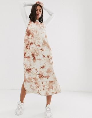 Hosbjerg sleeveless midi dress in marble print denim-Beige