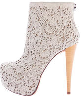 Alice + Olivia Laser Cut Ponyhair Ankle Boots