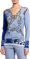Etro Tassel Floral Silk V-Neck Sweater