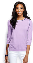 Classic Women's Tall Supima Tipped Crewneck Sweater-Vibrant Yellow Tipped
