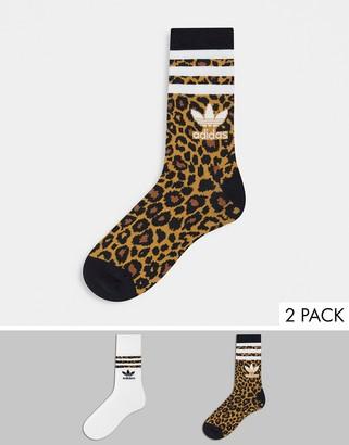 adidas 'Leopard Luxe' 2 pack logo socks