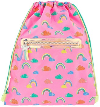 Accessorize Girls Rainbow Drawstring Bag - Pink