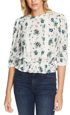 1 STATE Floral-Print Lace-Inset Top