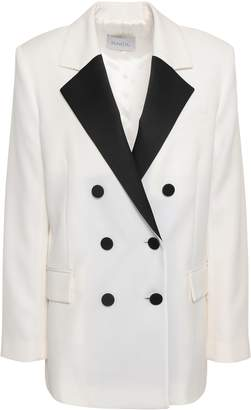 Racil Double-breasted Satin-trimmed Wool Blazer