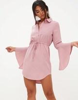 PrettyLittleThing Flute Sleeve Shirt Dress