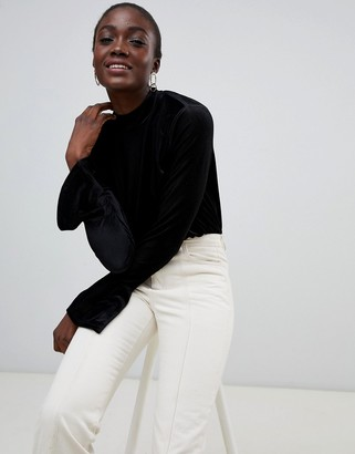 Pieces High Neck Velvet Ribbed Flare Sleeve Top