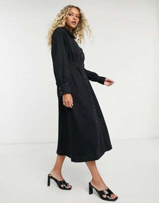 Selected denim midi shirt dress with elasticated waist in black