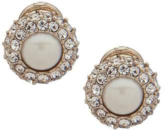 Ralph Lauren Pavé & Simulated Pearl Clip-On Earrings