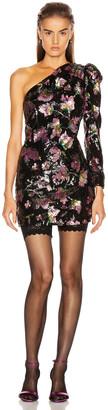 Self-Portrait One Shoulder Sequin Mini Dress in Midnight Bloom Sequin | FWRD