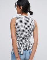 Daisy Street Gingham Singlet Top With Tie Waist
