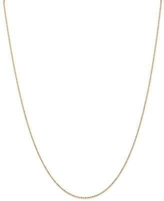 Curata 14k Yellow Gold 1.2mm Diamond-Cut Baby Ball Bead Chain Necklace Options: 16 18 20 24