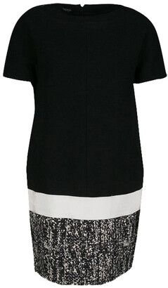 Giambattista Valli Monochrome Drop Waist Wool Shift Dress S