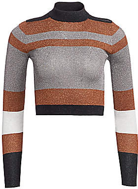 Brunello Cucinelli Women's Cropped Long-Sleeve Lurex Knit Sweater