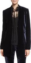Elie Tahari Antoinette Long High-Sheen Blazer Jacket
