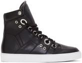 Diesel Black Gold Black Leather High-top Sneakers