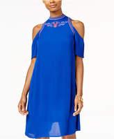 Sequin Hearts Juniors' Embroidered Cold-Shoulder Shift Dress