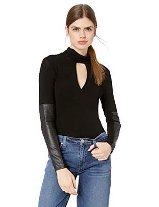 BCBGMAXAZRIA Women's Faux Leather-Trimmed Turtleneck Top