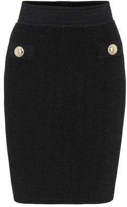 Balmain High-rise ribbed-knit miniskirt